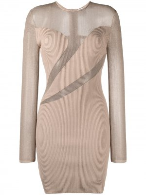 Полупрозрачное платье Hervé Léger. Цвет: нейтральные цвета