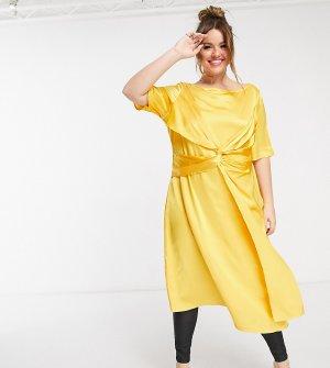 Желтое платье-рубашка с защипами Plus-Желтый Elvi