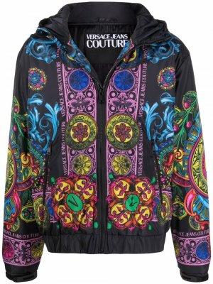 Куртка с капюшоном и принтом Regalia Versace Jeans Couture. Цвет: черный