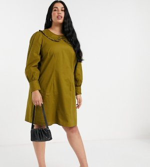 Платье цвета хаки с большим воротником -Зеленый Vero Moda Curve