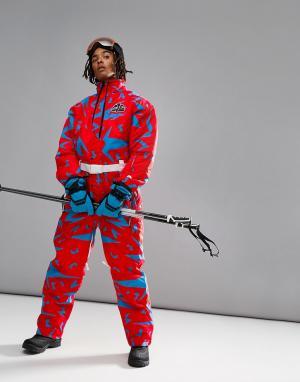 Розовый лыжный костюм OOSC Starman Old School Ski. Цвет: розовый