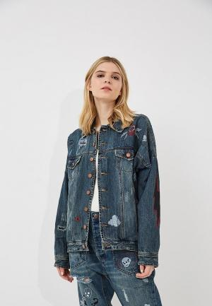 Куртка джинсовая One Teaspoon. Цвет: синий