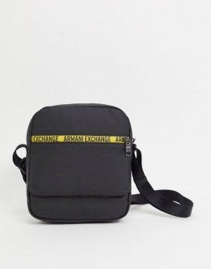 Черная сумка через плечо с контрастной отделкой кантом -Черный Armani Exchange
