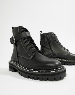 Кожаные премиум-ботинки на массивной подошве со шнуровкой ASOS DESIGN