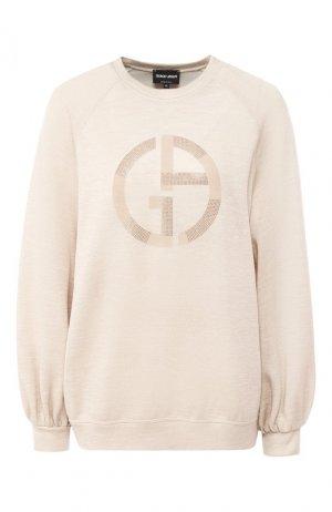 Пуловер с логотипом бренда Giorgio Armani. Цвет: бежевый