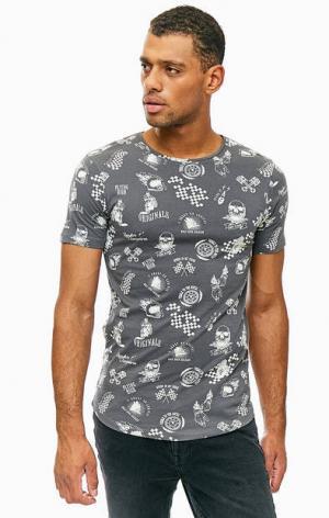 Серая хлопковая футболка с принтом Jack & Jones. Цвет: серый