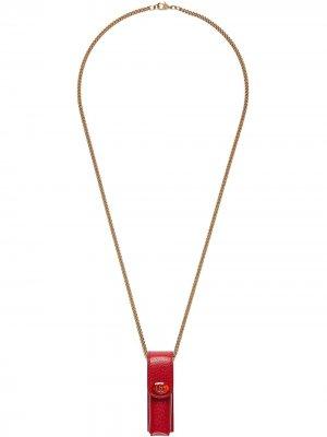 Футляр для губной помады на цепочке Gucci. Цвет: красный