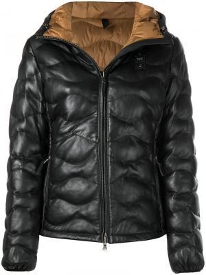 Стеганая кожаная куртка Blauer. Цвет: черный