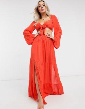 Красная пляжная юбка макси от комплекта -Красный ASOS DESIGN