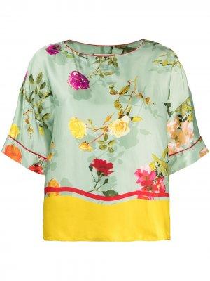 Блузка с принтом Semicouture. Цвет: зеленый