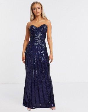 Темно-синее платье-бандо макси с отделкой и разрезом -Темно-синий Goddiva