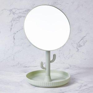 Настольное зеркало для макияжа в форме кактуса SHEIN. Цвет: зелёный