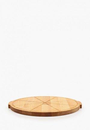 Доска разделочная Мастер Рио для пиццы, 34 см.. Цвет: коричневый