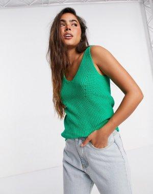 Вязаная майка зеленого цвета без рукавов Sinna-Зеленый Selected