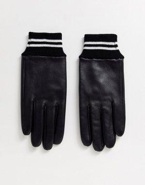 Черные кожаные перчатки с полосками на манжетах в рубчик -Черный ASOS DESIGN