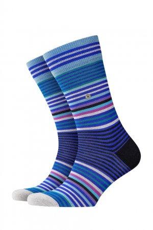 Синие хлопковые носки Stripe Burlington. Цвет: синий
