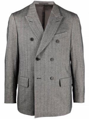 Двубортный пиджак с узором в елочку Caruso. Цвет: серый