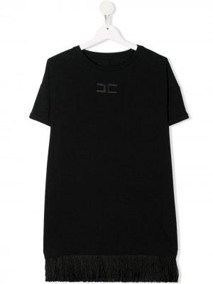 Платье-футболка с вышитым логотипом Elisabetta Franchi La Mia Bambina. Цвет: черный