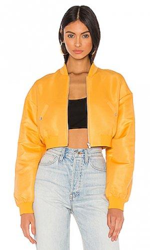 Укороченная куртка-бомбер sim h:ours. Цвет: желтый