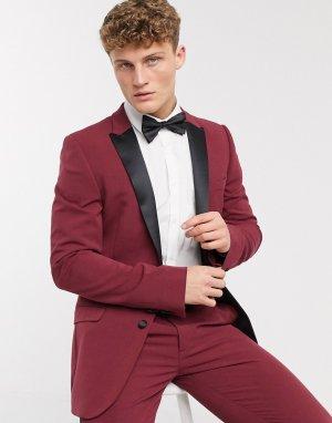 Бордовый супероблегающий пиджак-смокинг -Красный ASOS DESIGN