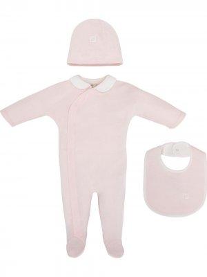 Набор из комбинезона, шапки и нагрудника Fendi Kids. Цвет: розовый