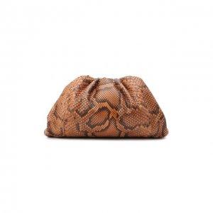 Клатч Pouch из кожи питона Bottega Veneta. Цвет: коричневый