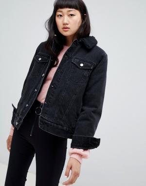 Джинсовая oversize-куртка с подкладкой из искусственного меха -Черный Weekday