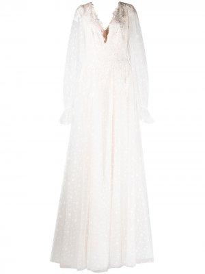 Свадебное платье Gretel с узором в горох Tadashi Shoji. Цвет: белый
