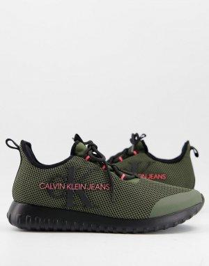 Кроссовки оливкового цвета Jeans Reiland-Зеленый цвет Calvin Klein
