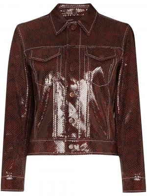 Python-print jacket GANNI. Цвет: коричневый