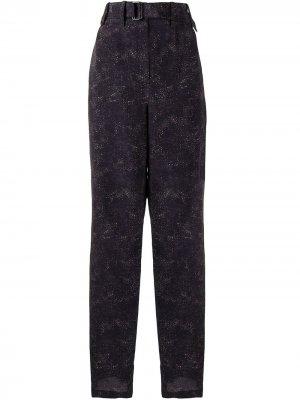 Зауженные широкие брюки с абстрактным принтом Lemaire. Цвет: черный