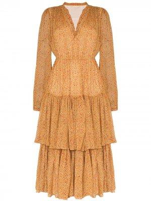 Платье миди с цветочным принтом и оборками byTiMo. Цвет: оранжевый