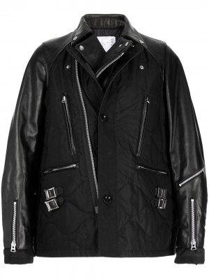 Байкерская куртка оверсайз sacai. Цвет: черный