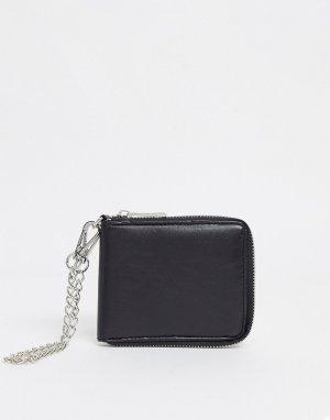 Черный кошелек для мелочи со съемной цепочкой -Черный цвет SVNX