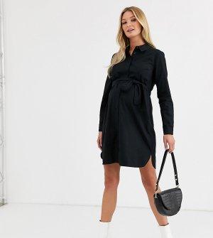 Черное хлопковое платье-рубашка мини с поясом ASOS DESIGN Maternity-Черный цвет Maternity