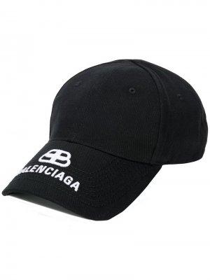 Бейсболка с вышитым логотипом Balenciaga. Цвет: черный