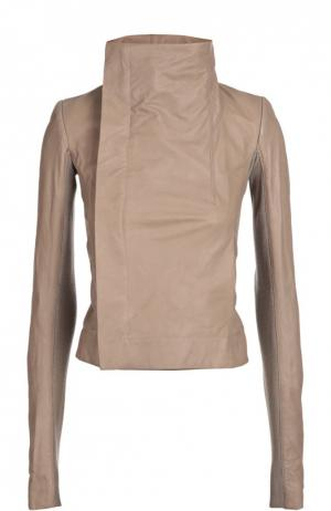 Укороченная кожаная куртка с косой молнией и высоким воротником Rick Owens. Цвет: серый