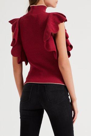 Красный пуловер с воланами Elisabetta Franchi. Цвет: multicolor
