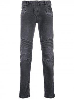 Байкерские джинсы Balmain. Цвет: черный