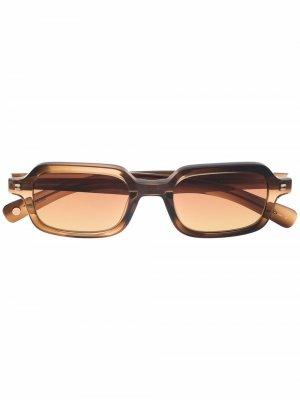 Солнцезащитные очки Navarre в прямоугольной оправе Garrett Leight. Цвет: коричневый