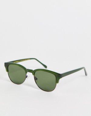 Темно-зеленые квадратные солнцезащитные очки в стиле унисекс Club Bate-Зеленый цвет A.Kjaerbede