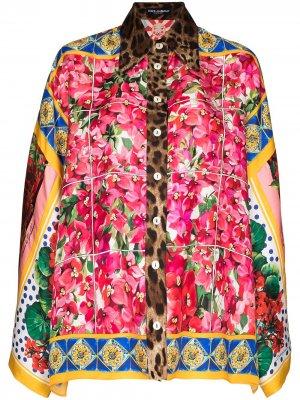 Рубашка в технике пэчворк с широкими рукавами Dolce & Gabbana. Цвет: розовый