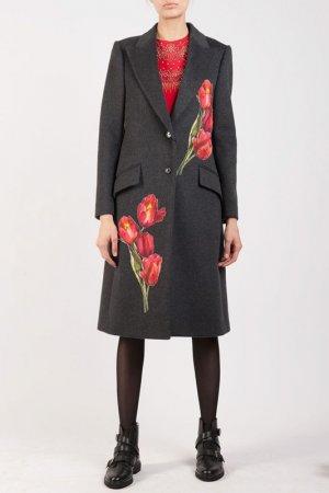 Пальто DOLCE & GABBANA. Цвет: серый/красный