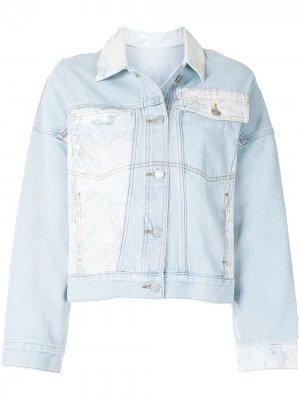 Джинсовая куртка в технике пэчворк PortsPURE. Цвет: синий