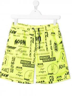 TEEN logo-print swim shorts Msgm Kids. Цвет: желтый