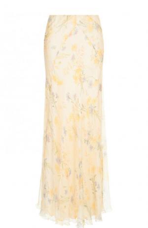 Шелковая юбка-макси с принтом Ralph Lauren. Цвет: кремовый