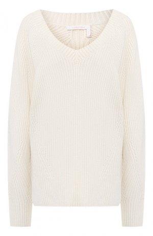 Пуловер из шерсти и хлопка See by Chloé. Цвет: белый