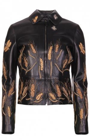 Укороченная кожаная куртка с контрастной вышивкой в виде колосьев Valentino. Цвет: черный
