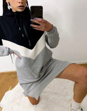 Спортивное трикотажное платье серого цвета в стиле колор блок -Серый Noisy May