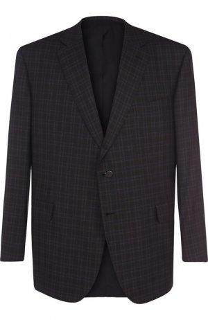 Однобортный пиджак из смеси шерсти и шелка Brioni. Цвет: коричневый